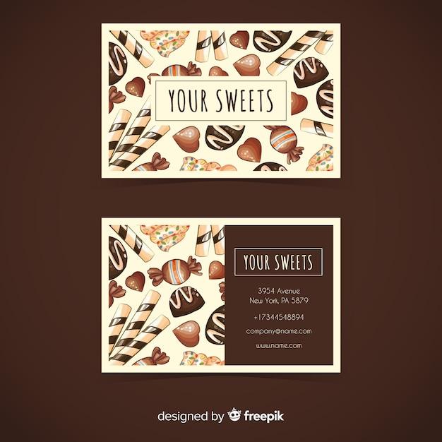 Plantilla de tarjeta de visita de dulces en acuarela vector gratuito