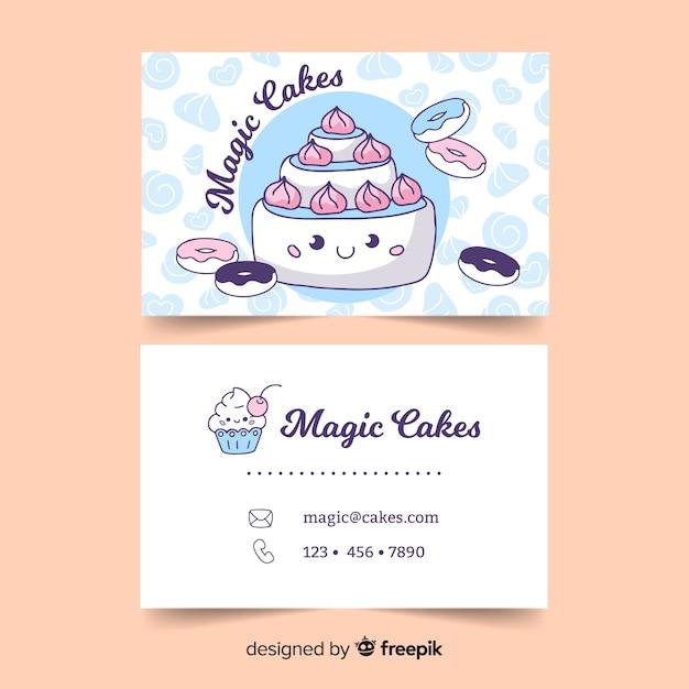 Plantilla de tarjeta de visita de estilo kawaii vector gratuito