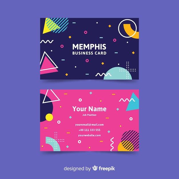 Plantilla de tarjeta de visita de estilo memphis vector gratuito