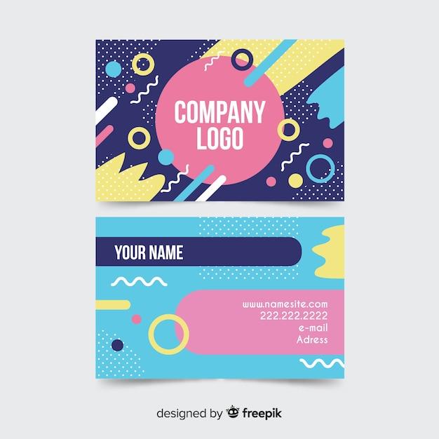 Plantilla de tarjeta de visita en estilo memphis vector gratuito
