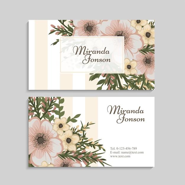 Plantilla de tarjeta de visita de flor vintage vector gratuito
