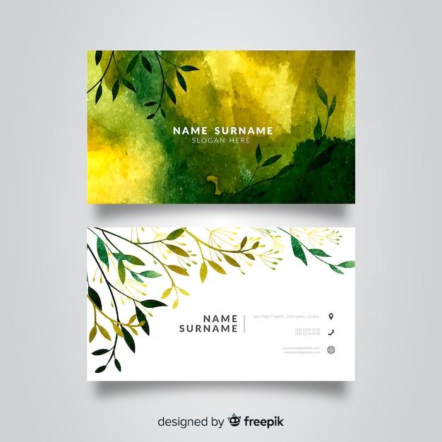 Plantilla de tarjeta de visita floral acuarela vector gratuito