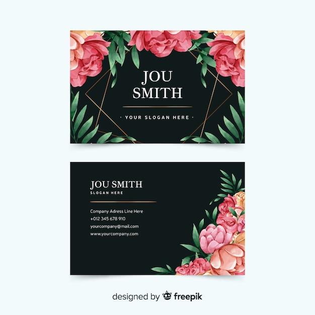 Plantilla de tarjeta de visita floral en acuarela vector gratuito
