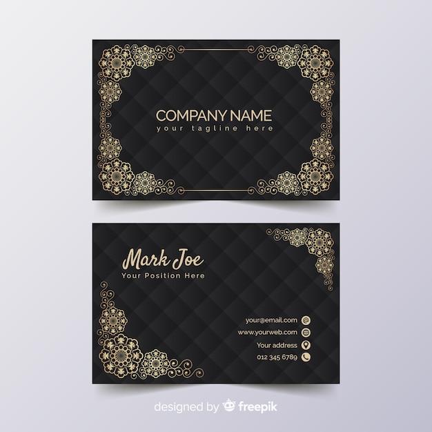 Plantilla de tarjeta de visita floral dorada vector gratuito
