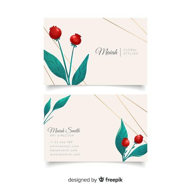 Plantilla de tarjeta de visita floral con líneas doradas vector gratuito