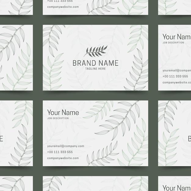 Plantilla de tarjeta de visita floral realista dibujado a mano vector gratuito