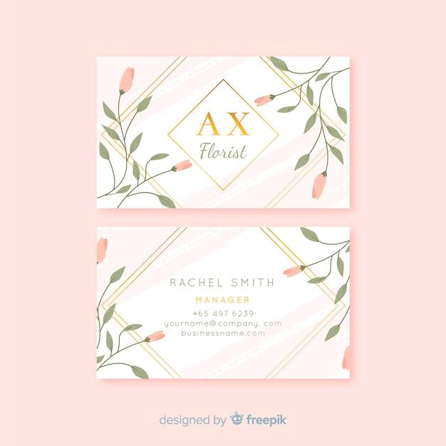 Plantilla de tarjeta de visita floral vector gratuito