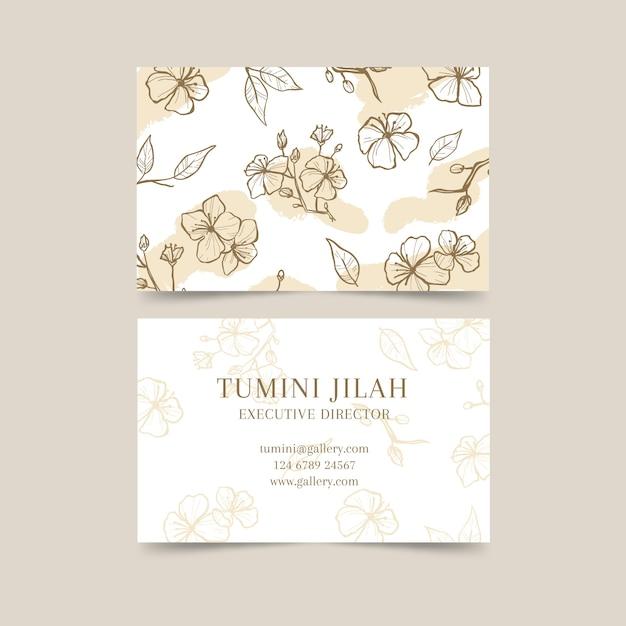 Plantilla de tarjeta de visita con flores vector gratuito