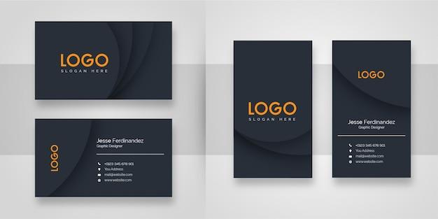 Plantilla de tarjeta de visita - forma oscura abstracta Vector Premium