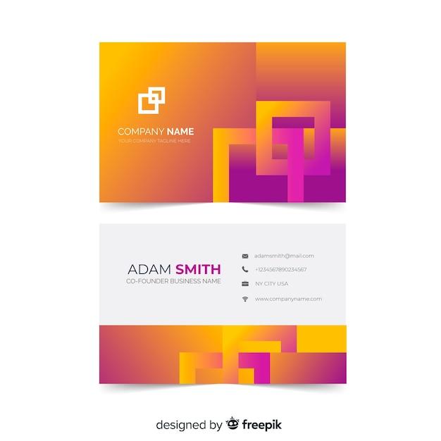Plantilla de tarjeta de visita - formas de gradiente de duotono abstracto vector gratuito
