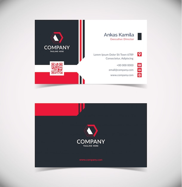 Plantilla de tarjeta de visita geométrica moderna en negro y rojo Vector Premium
