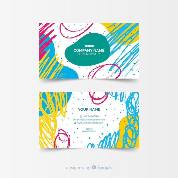Plantilla para tarjeta de visita hecha en pintura vector gratuito