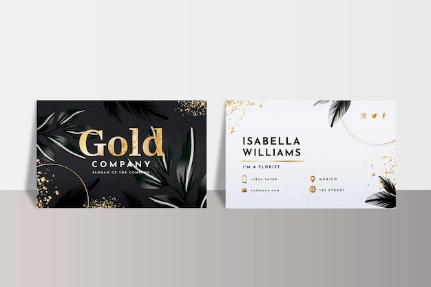 Plantilla de tarjeta de visita de lámina de oro vector gratuito