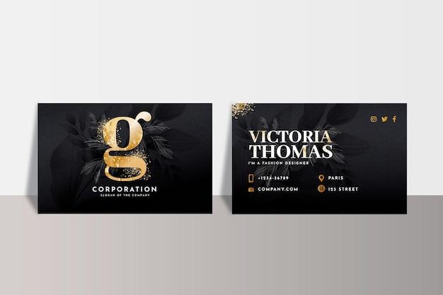 Plantilla de tarjeta de visita de lámina de oro Vector Premium
