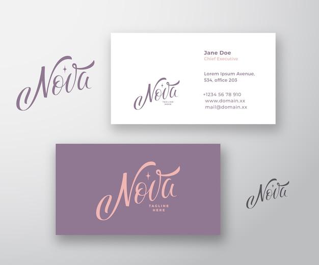 Plantilla de tarjeta de visita y logotipo de vector abstracto de inscripción de nova vector gratuito