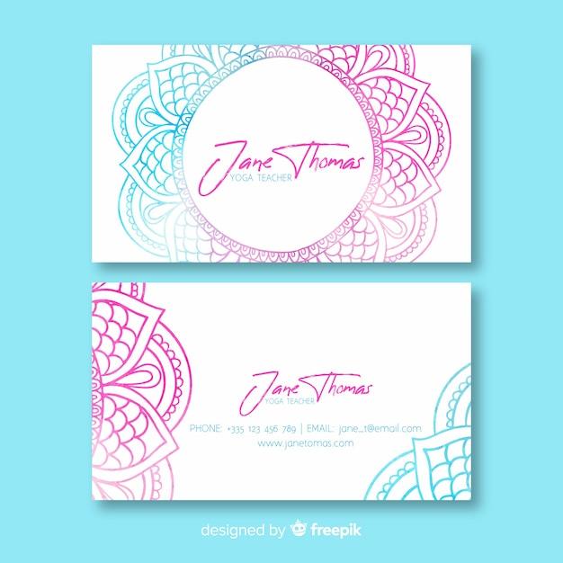 Plantilla de tarjeta de visita de mandala de acuarela vector gratuito