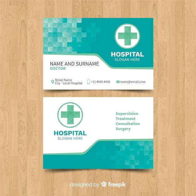 Plantilla  tarjeta de visita de médico con estilo moderno vector gratuito