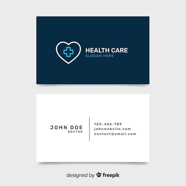 Plantilla de tarjeta de visita de médico con estilo moderno vector gratuito