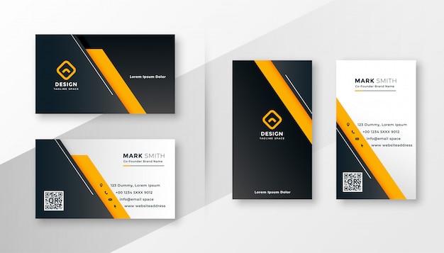 Plantilla de tarjeta de visita moderna geométrica amarilla vector gratuito
