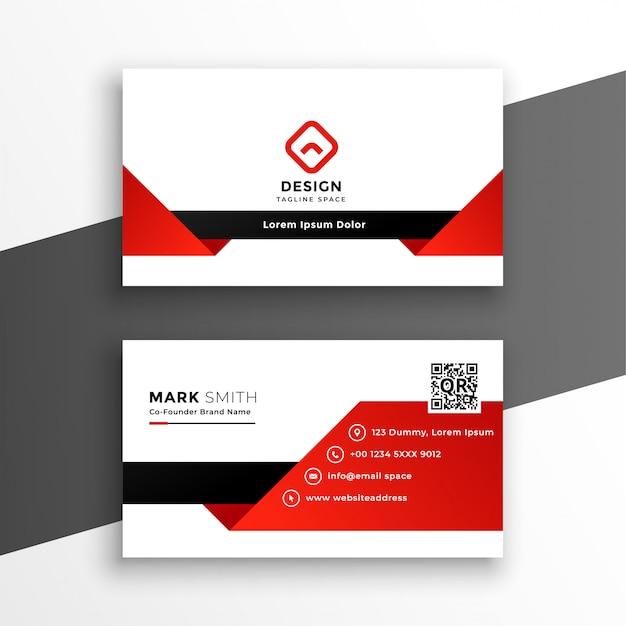 Plantilla de tarjeta de visita moderna roja y blanca vector gratuito