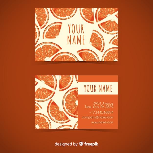 Plantilla de tarjeta de visita de naranjas en acuarela vector gratuito