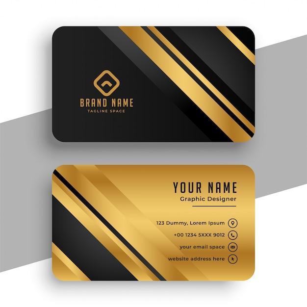 Plantilla de tarjeta de visita negra y dorada vector gratuito
