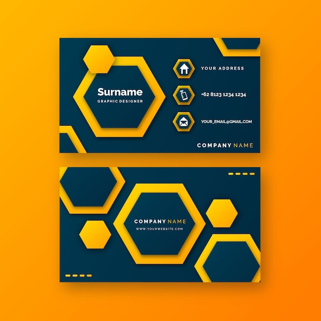 Plantilla de tarjeta de visita neumorph con hexágonos vector gratuito