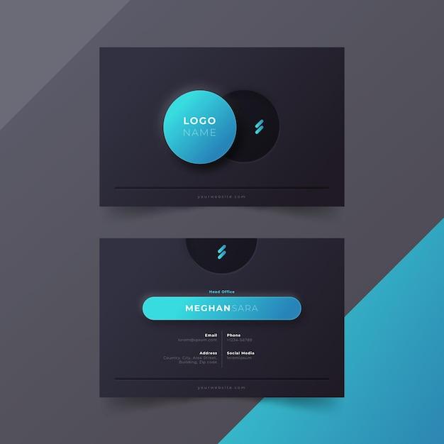 Plantilla de tarjeta de visita neumorph Vector Premium