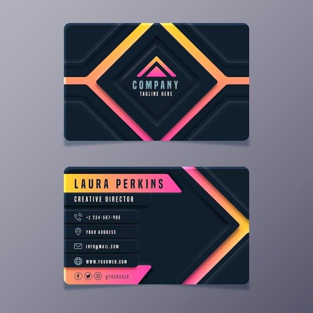 Plantilla de tarjeta de visita neumorph vector gratuito