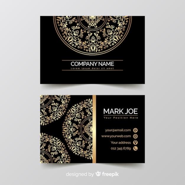 Plantilla de tarjeta de visita ornamental dorada vector gratuito