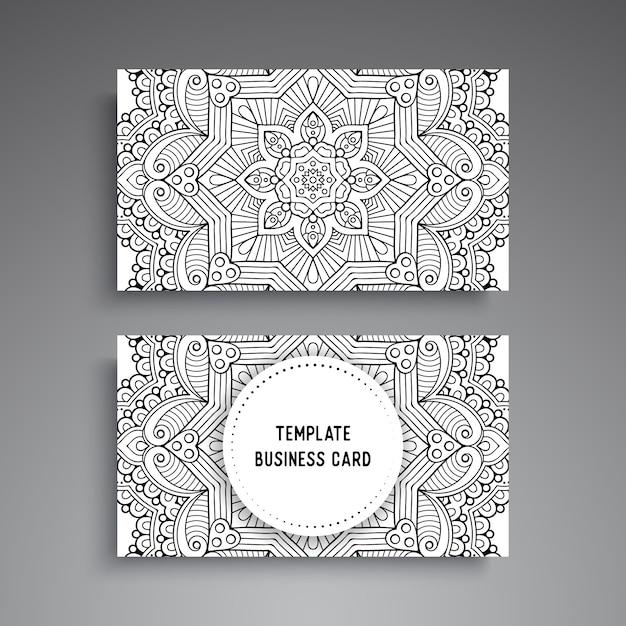 Plantilla de tarjeta de visita ornamental mandala Vector Premium