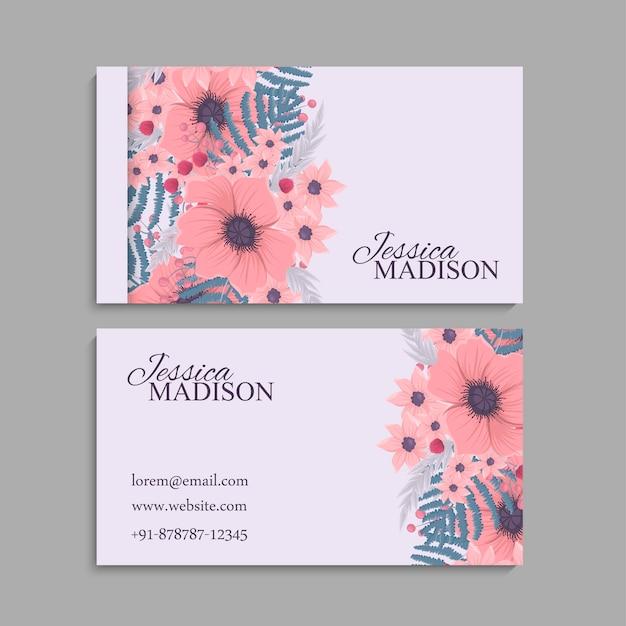 Plantilla de tarjeta de visita, patrón floral de fondo vector gratuito