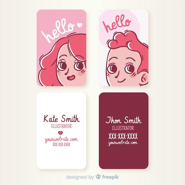 Plantilla de tarjeta de visita con personaje kawaii dibujado a mano vector gratuito