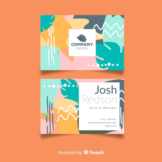 Plantilla de tarjeta de visita pintada a mano abstracta vector gratuito
