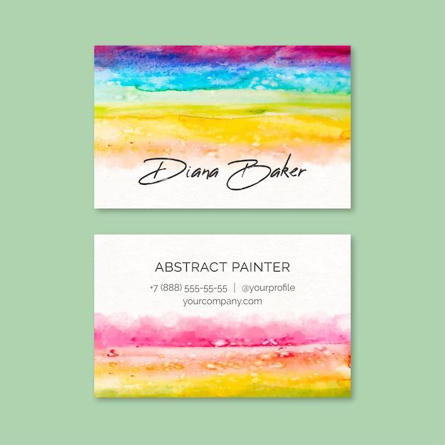 Plantilla de tarjeta de visita con pintura de acuarela vector gratuito