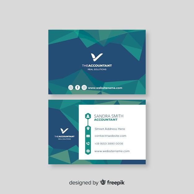 Plantilla de tarjeta de visita poligonal abstracta vector gratuito