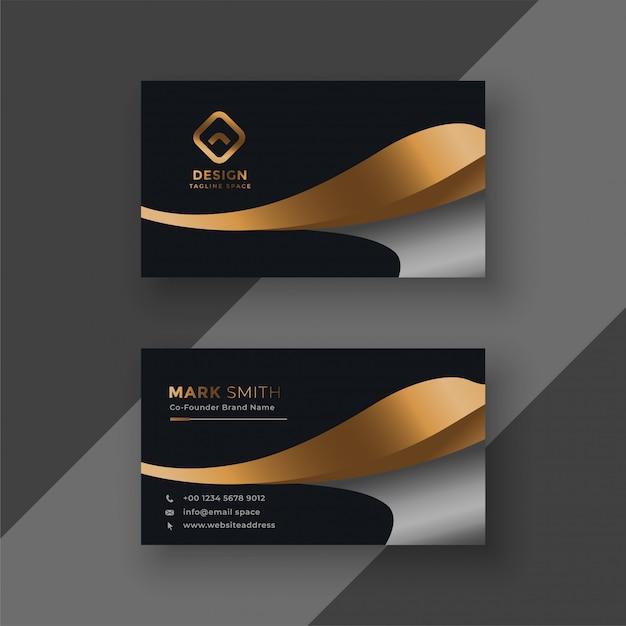 Plantilla de tarjeta de visita premium de oro de lujo vector gratuito
