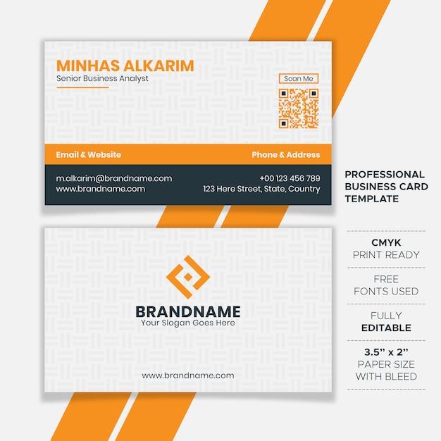Plantilla de tarjeta de visita profesional limpia Vector Premium