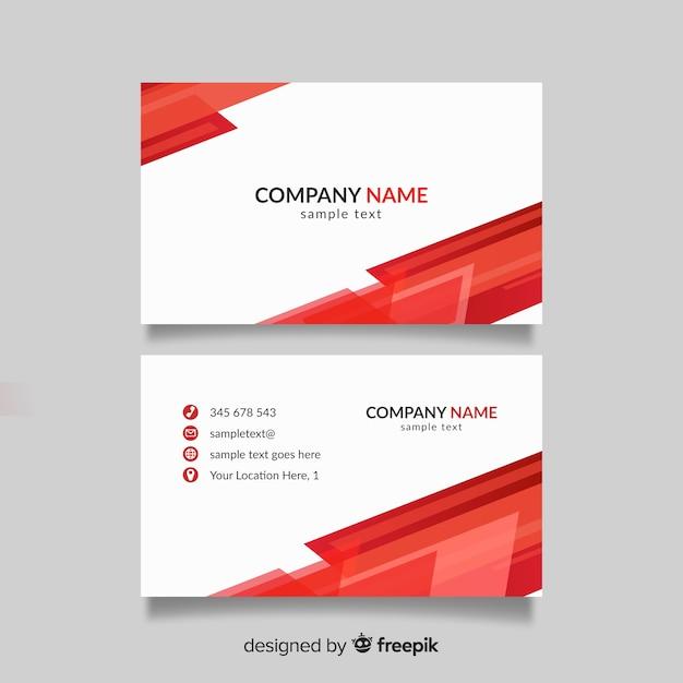 Plantilla de tarjeta de visita roja y blanca vector gratuito