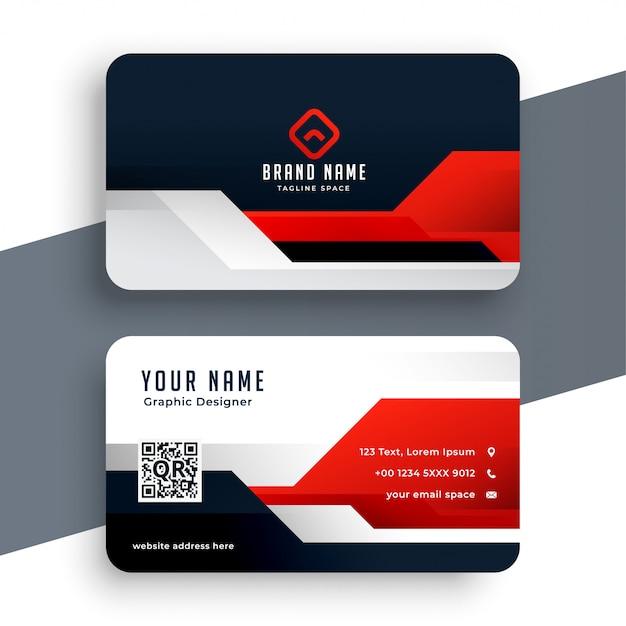 Plantilla de tarjeta de visita roja moderna en estilo geométrico vector gratuito