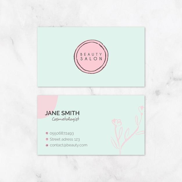 Plantilla de tarjeta de visita de salón de belleza vector gratuito