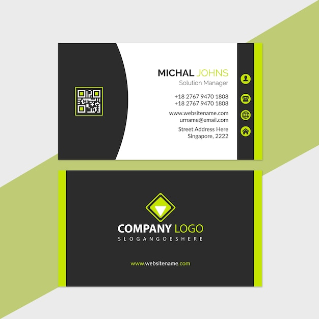 Plantilla de tarjeta de visita verde y negro Vector Premium