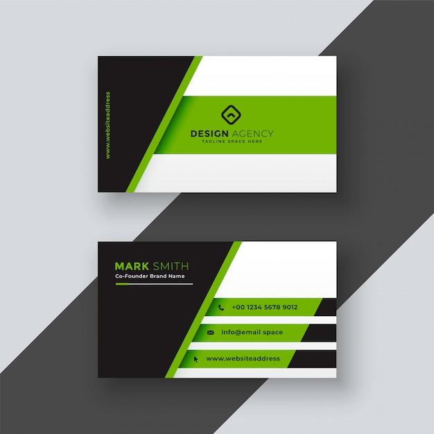 Plantilla de tarjeta de visita verde profesional vector gratuito