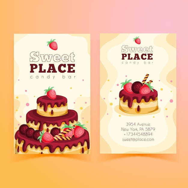Plantilla de tarjeta de visita vertical de doble cara para fiesta de cumpleaños Vector Premium