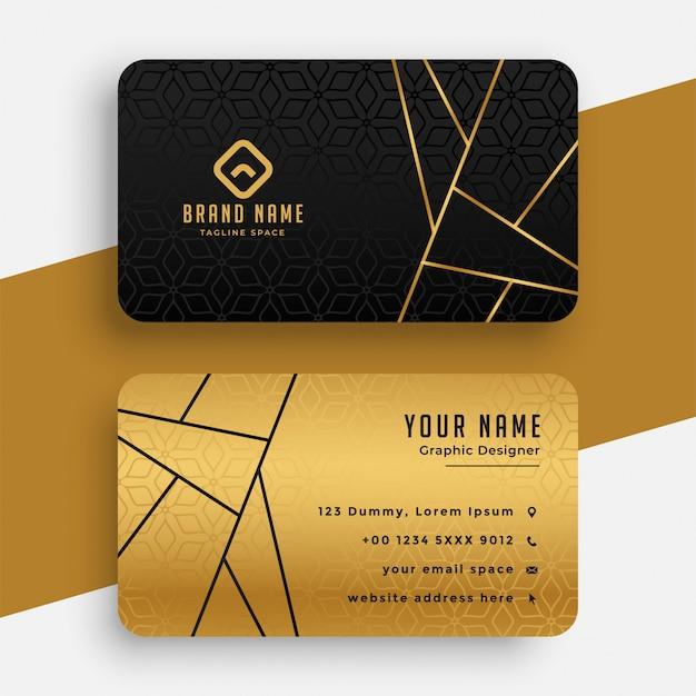Plantilla de tarjeta de visita vip de lujo negra y dorada vector gratuito