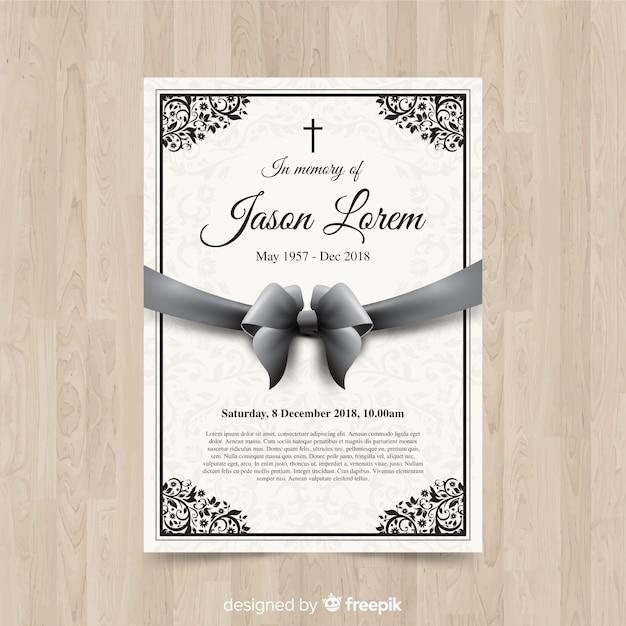 Plantilla de tarjetas funerarias vector gratuito