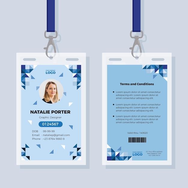Plantilla de tarjetas de identificación abstracta con foto Vector Premium