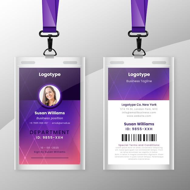 Plantilla de tarjetas de identificación abstracta con foto vector gratuito