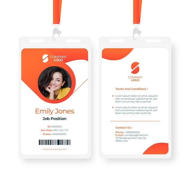 Plantilla de tarjetas de identificación abstracta con imagen vector gratuito