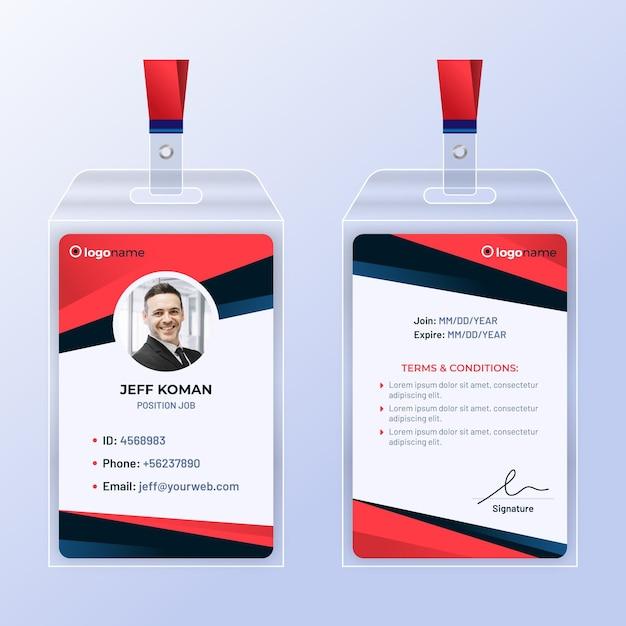 Plantilla de tarjetas de identificación de diseño abstracto con foto vector gratuito
